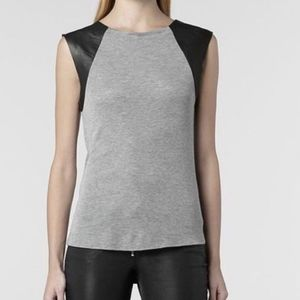 All Saints Aleinor Leather Cap sleeve Tank